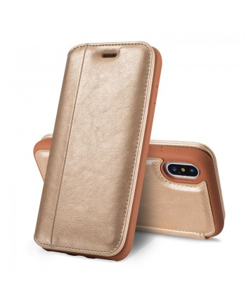 iPhone Premium Handcrafted Leather Flip Case - Gold