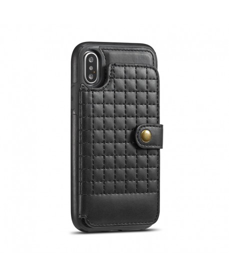 iPhone Lattice Leather Wallet Back Case - Black