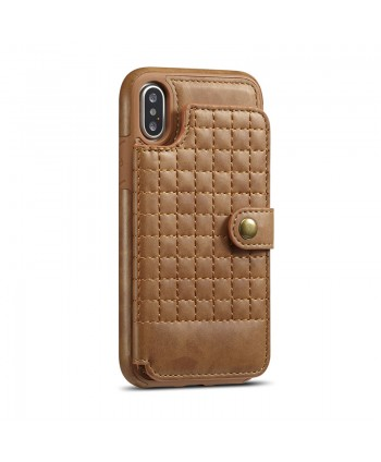 iPhone Lattice Leather Wallet Back Case - Brown