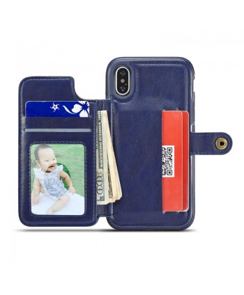 iPhone Lattice Leather Wallet Back Case - Navy Blue