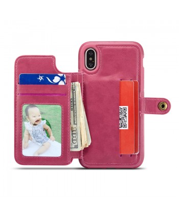 iPhone Lattice Leather Wallet Back Case - Rose Red