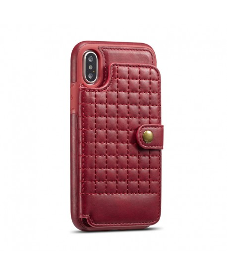iPhone Lattice Leather Wallet Back Case - Red