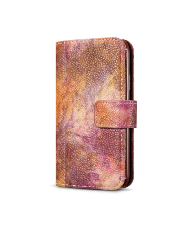 iPhone Oil Painting Design Leather Wallet Case - Purple Brown