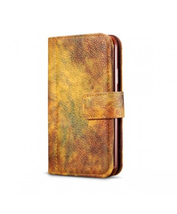 iPhone Oil Painting Design Leather Wallet Case - Autumn Yellow