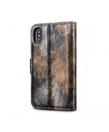 iPhone Oil Painting Design Leather Wallet Case - Rock Gray