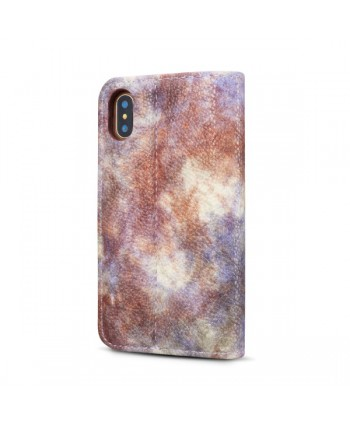 iPhone Oil Painting Design Leather Wallet Case - Violet