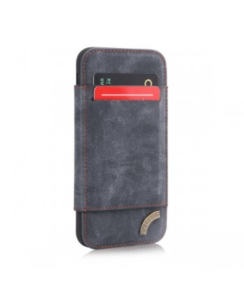 iPhone Matte Leather Folio Card Case - Gray Blue