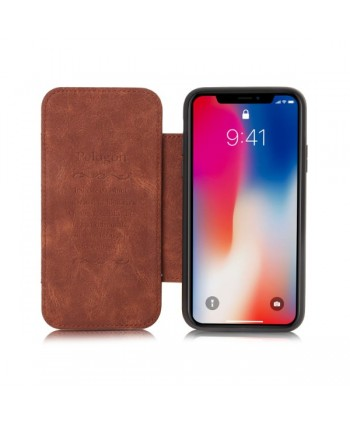 iPhone Matte Leather Folio Card Case - Brown