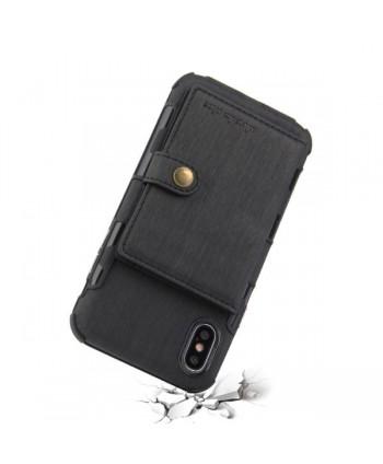 iPhone Hairline Leather Wallet Back Case - Black