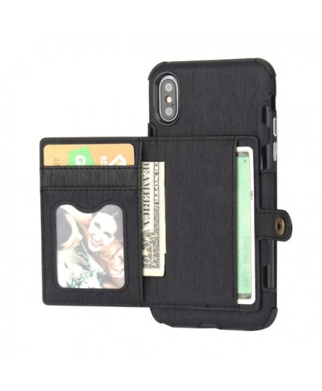 iPhone Hairline Leather Wallet Back Case - Black