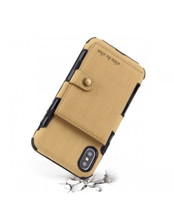 iPhone Hairline Leather Wallet Back Case - Yellow