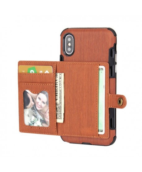 iPhone Hairline Leather Wallet Back Case - Brown