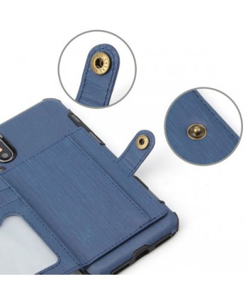 iPhone Hairline Leather Wallet Back Case - Navy Blue