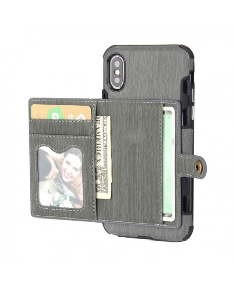 iPhone Hairline Leather Wallet Back Case - Gray