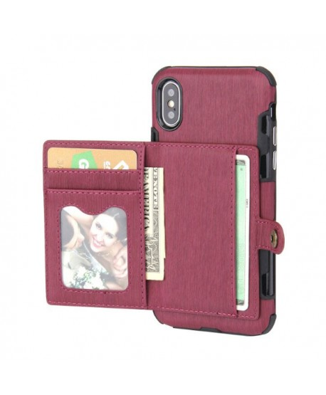 iPhone Hairline Leather Wallet Back Case - Purple