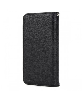 iPhone Handcrafted Leather Magnetic Detachable Wallet Case - Black