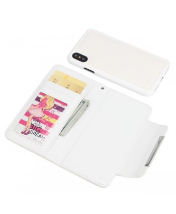 iPhone Handcrafted Leather Magnetic Detachable Wallet Case - White