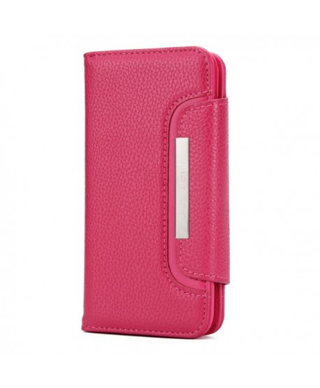 iPhone Handcrafted Leather Magnetic Detachable Wallet Case - Rose Red