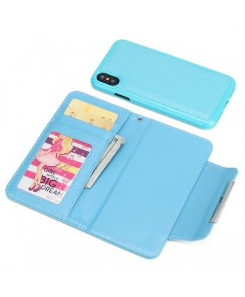 iPhone Handcrafted Leather Magnetic Detachable Wallet Case - Blue