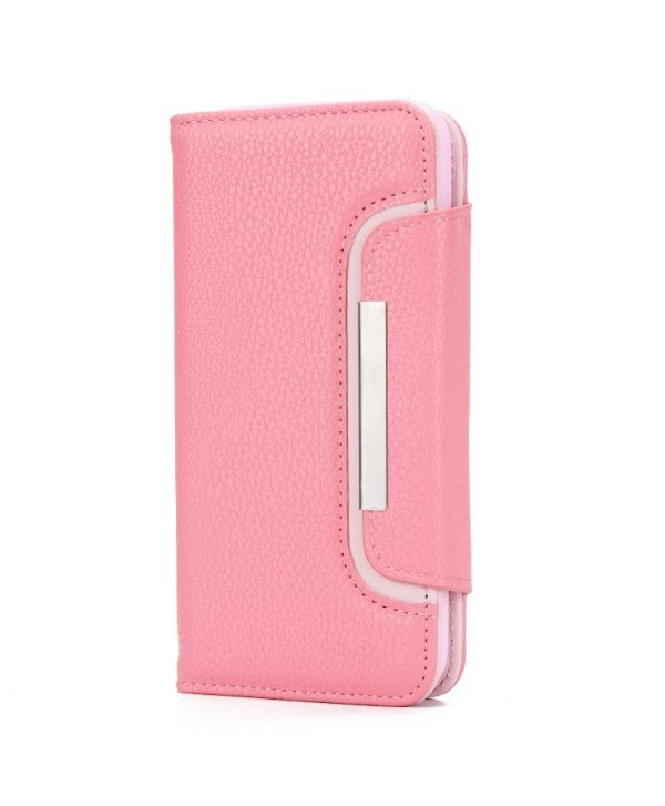 iPhone Handcrafted Leather Magnetic Detachable Wallet Case - Pink