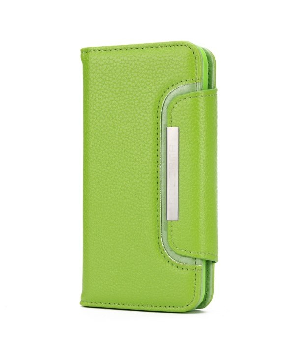 iPhone Handcrafted Leather Magnetic Detachable Wallet Case - Green