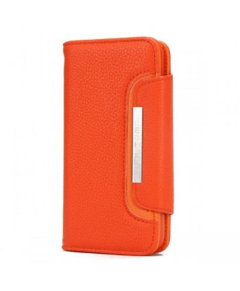 iPhone Handcrafted Leather Magnetic Detachable Wallet Case - Orange