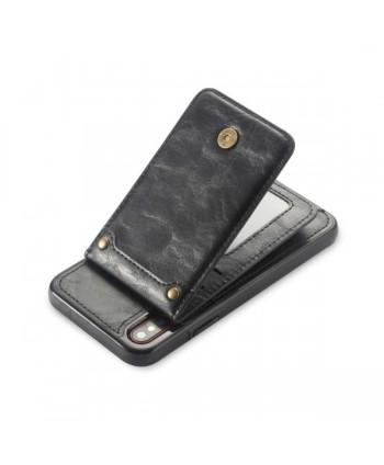 iPhone Vertical Flip Leather Wallet Back Case - Black