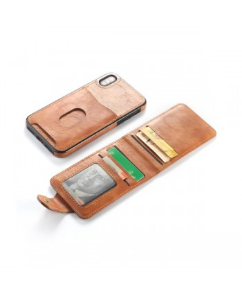 iPhone Vertical Flip Leather Wallet Back Case - Brown