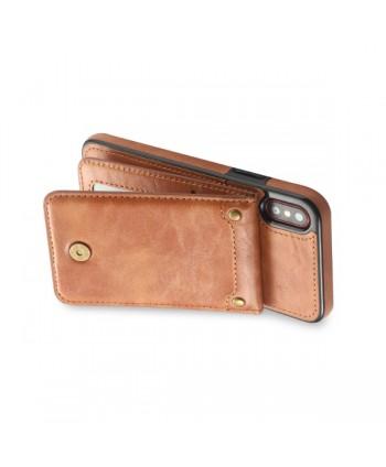iPhone Vertical Flip Leather Wallet Back Case - Brown