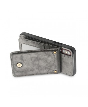 iPhone Vertical Flip Leather Wallet Back Case - Grey