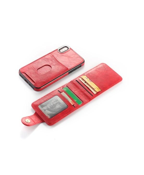 iPhone Vertical Flip Leather Wallet Back Case - Red