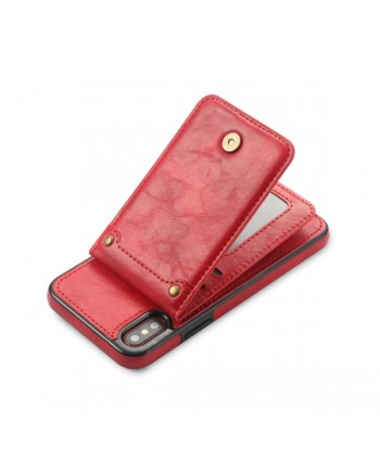 iPhone Vertical Flip Leather Wallet Back Case - Red