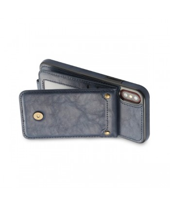 iPhone Vertical Flip Leather Wallet Back Case - Navy Blue