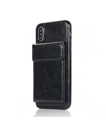 iPhone Leather Vertical Flip Wallet Back Cover - Black
