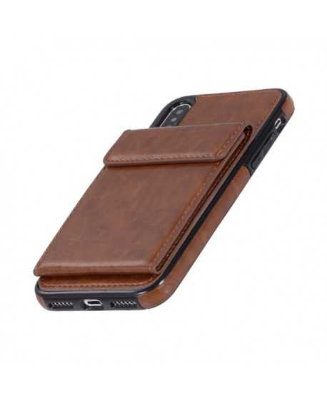 iPhone Leather Vertical Flip Wallet Back Cover - Brown