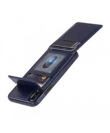 iPhone Leather Vertical Flip Wallet Back Cover - Blue