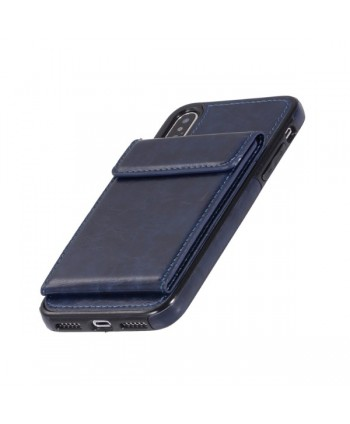 iPhone Leather Vertical Flip Wallet Back Cover - Blue