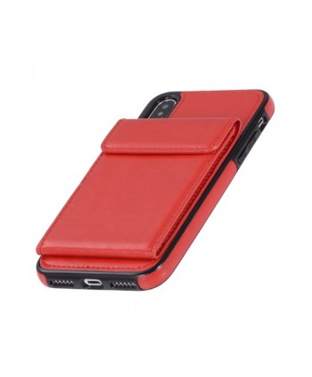 iPhone Leather Vertical Flip Wallet Back Cover - Red
