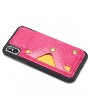 iPhone Leather Card Case With Hidden Mirror - Rose Red