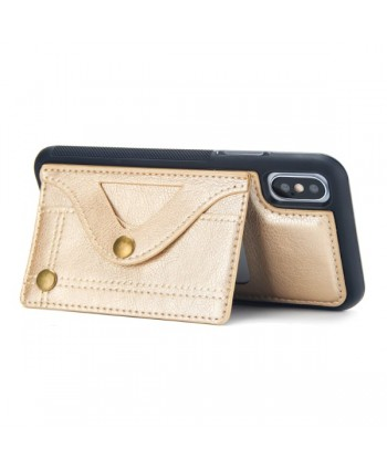 iPhone Leather Card Case With Hidden Mirror - Gold