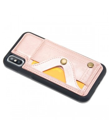 iPhone Leather Card Case With Hidden Mirror - Rose Gold