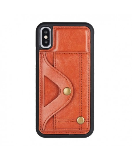 iPhone Leather Card Case With Hidden Mirror - Brown