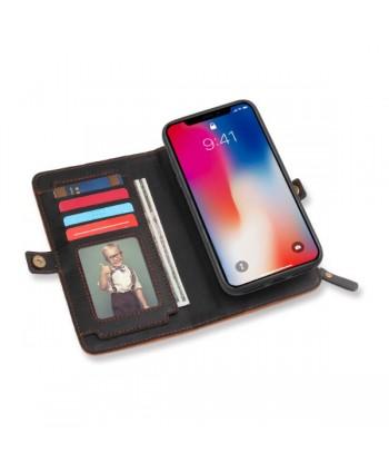 iPhone Magnetic Detachable Leather Wallet Case - Black