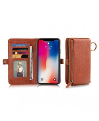 iPhone Magnetic Detachable Leather Wallet Case - Brown