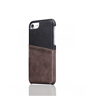iPhone Slim Genuine Leather Back Case With Card Holder - Grey