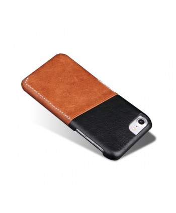 iPhone Slim Genuine Leather Back Case With Card Holder - Brown