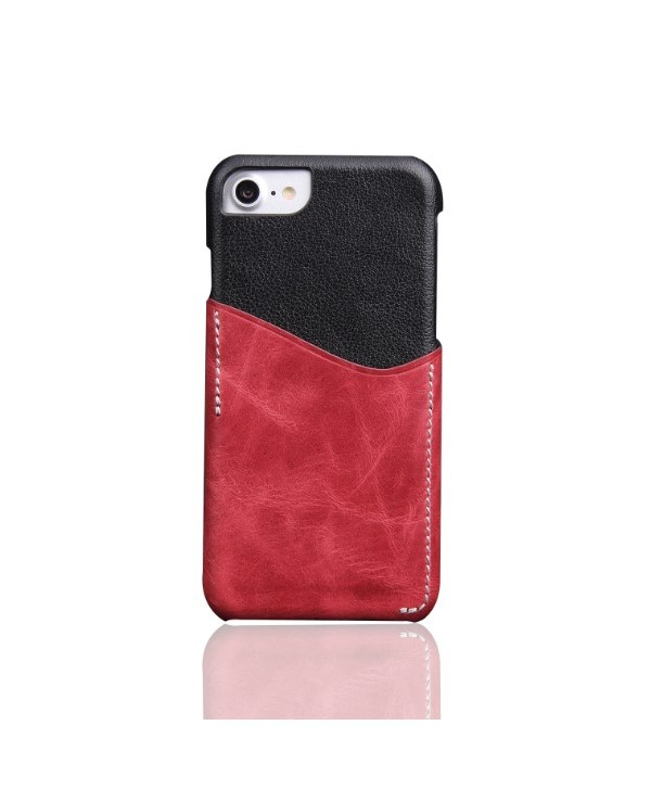iPhone Slim Genuine Leather Back Case With Card Holder - Red