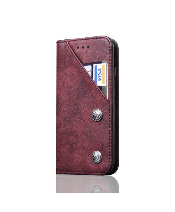 iPhone Leather Folio Case With Card Holder - Red