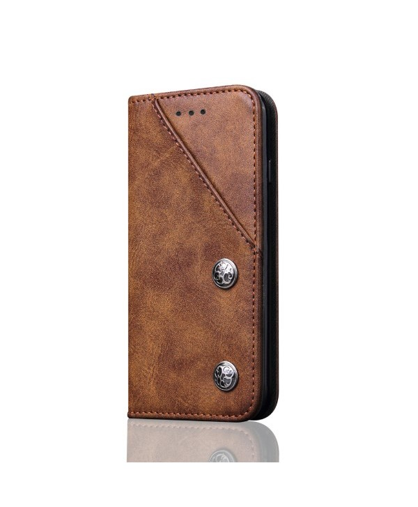 iPhone Leather Folio Case With Card Holder - Brown