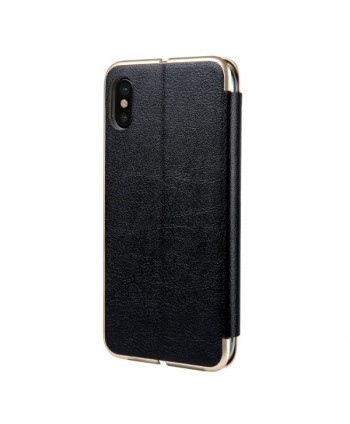 iPhone Slim Leather Book Style Flip Case - Black